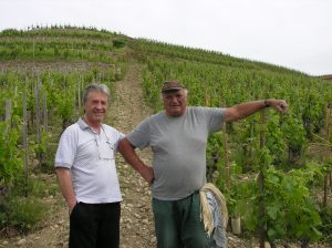 My father and a vine-grower in the steep hillsides of Crozes-Hermitage