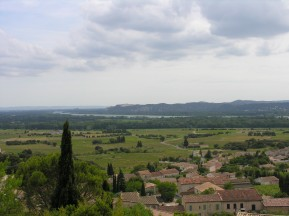 Rhône river in the distance